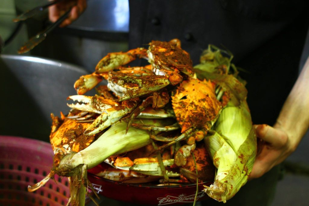 Delicious Steamed Crabs at the River Shack in Charlestown, Maryland